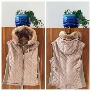 Quilted Fur Lined Vest W/ Removable Hood & Collar